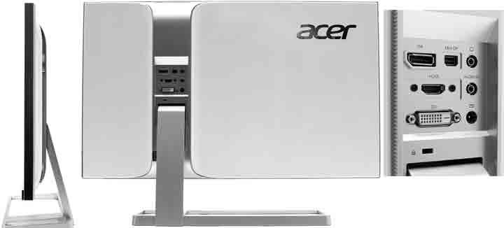 Монитор Acer S277HK. Боковой и задний виды. Разъемы
