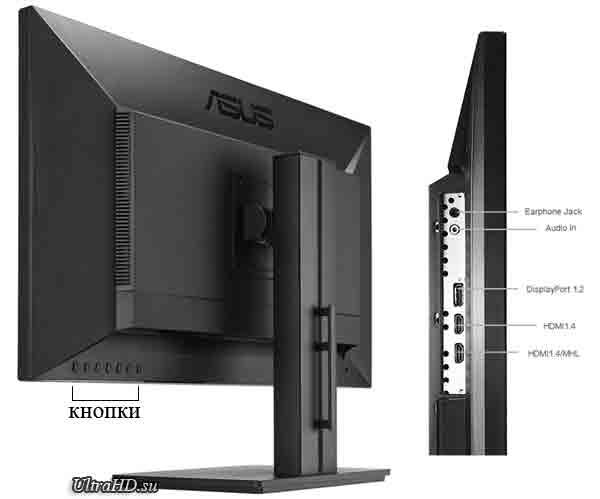 Монитор Asus PB287Q. Вид сзади с кнорками и порты