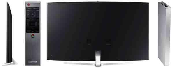 Телевизор Samsung JS9500 SUHD 4K TV. Вид сзади, сбоку, ДУ