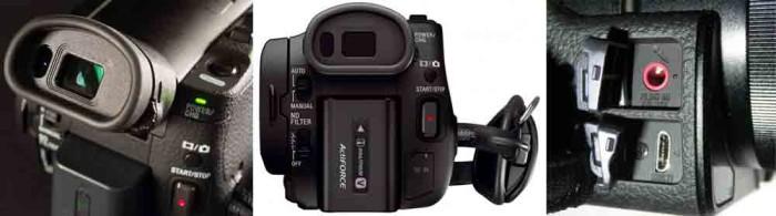Видеокамер Sony FDR-AX100 4K. Видоискатель