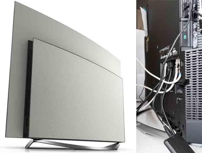 Телевизор Panasonic CZ950. Вид сзади и коммутация
