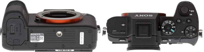 Фотакамера Sony A7S II и Sony A7R II вид сверху и снизу