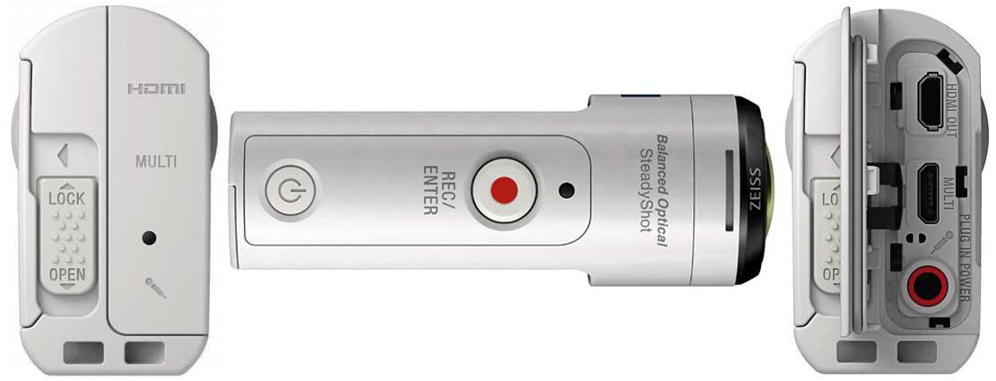 Sony FDR-X3000 вид сзади и сбоку