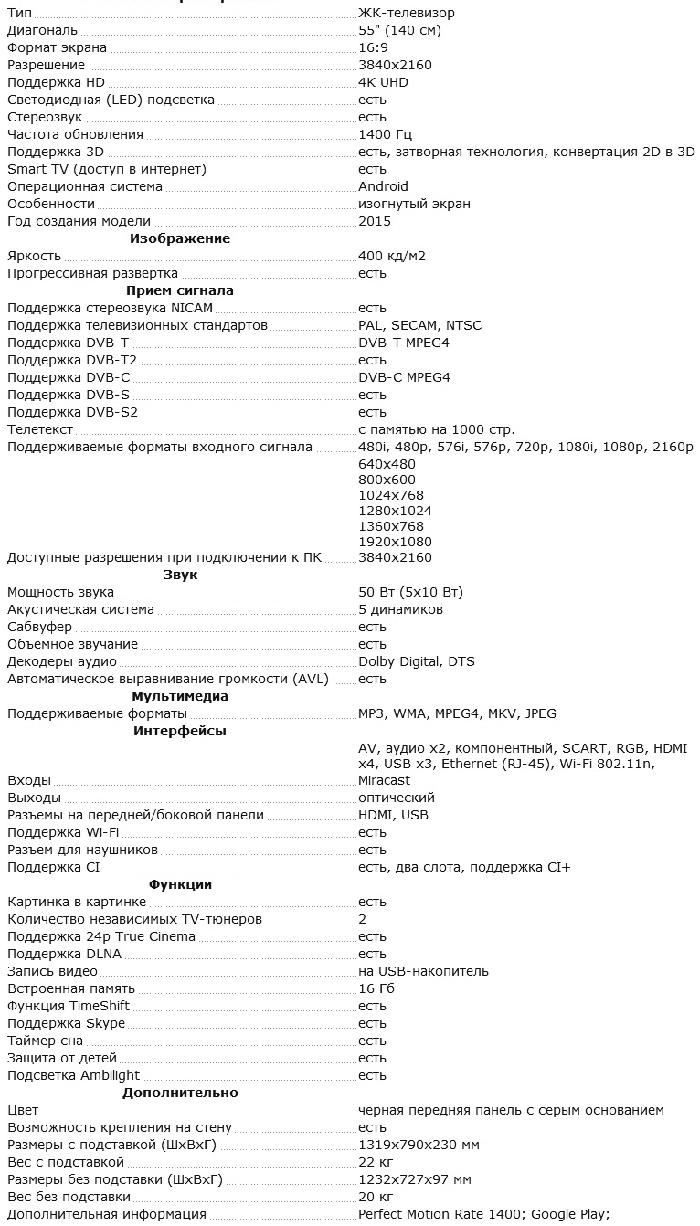 Характеристики 55PUS8700