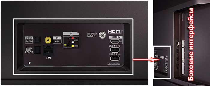 Телевизор LG OLED55E7V интерфейсы