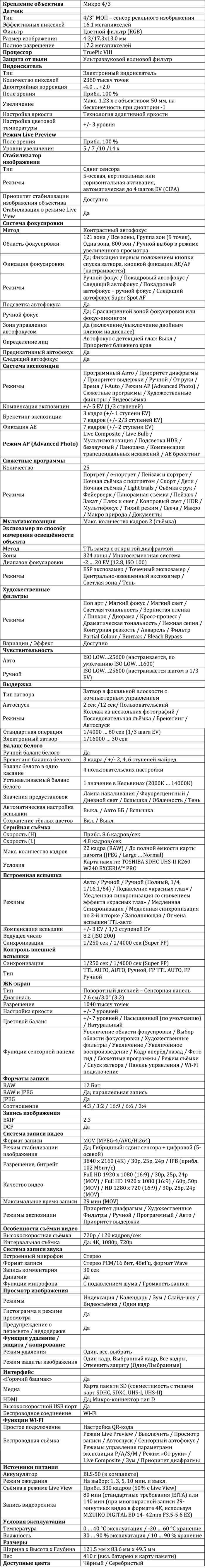 Характеристики E-M10 Mark III