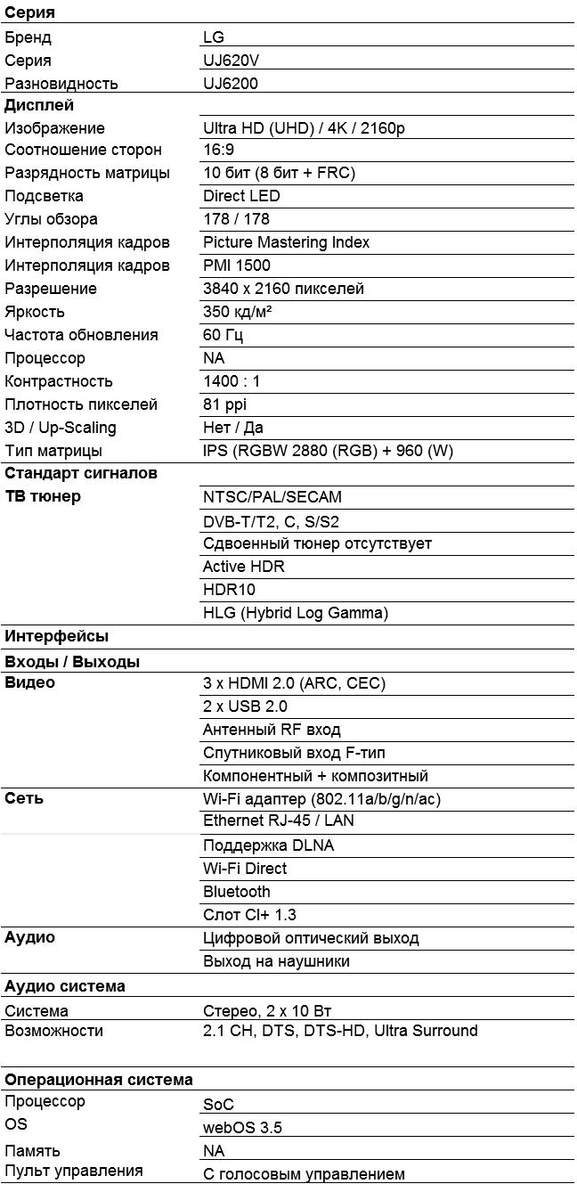 Характеристики UJ620V