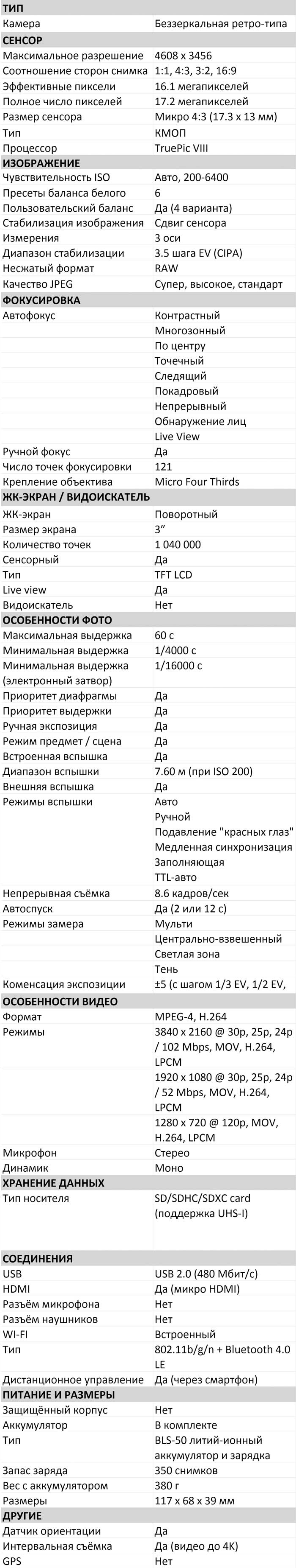 Характеристики E-PL9 характеристики