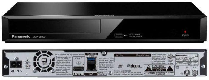 Panasonic DMP-UB200 интерфейсы