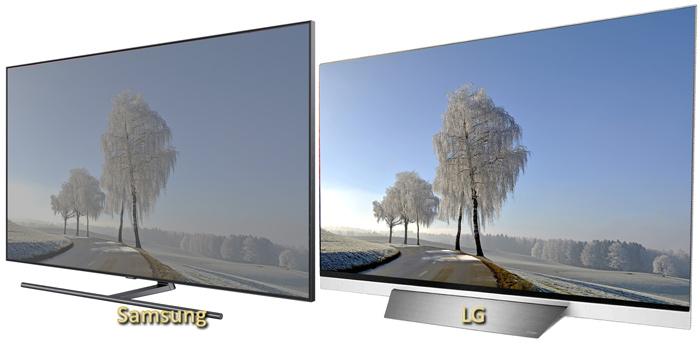 LG E8 OLED и QLED Samsung Q9FN углы обзора