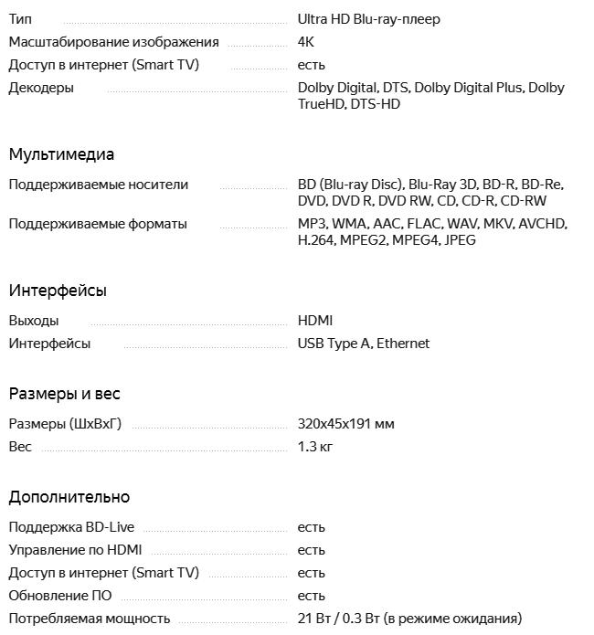 Характеристики DP-UB320