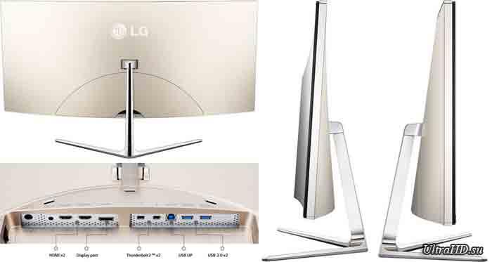 Монитор LG 34UC97-S. Тыл, вид сбоку и разъемы