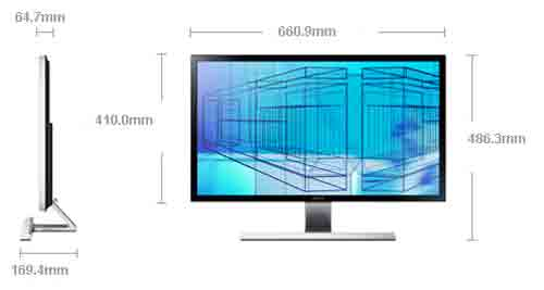 Монитор Samsung U28D590D. Размеры