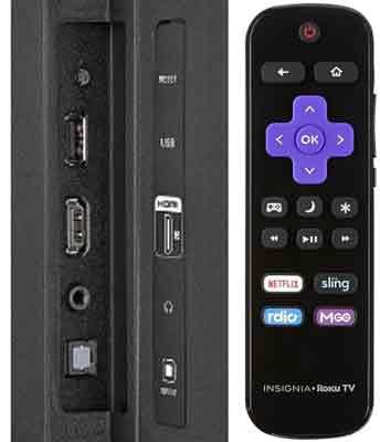Insignia Roku TV 4K задняя панель и пульт