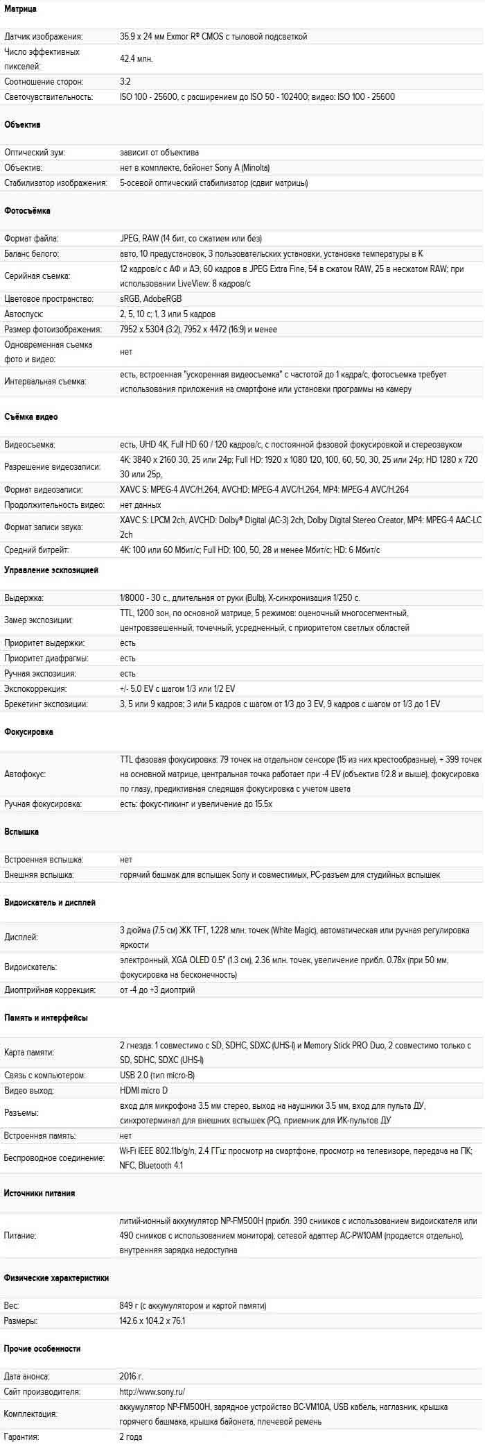 Характеристики Sony Alpha SLT-A99 II