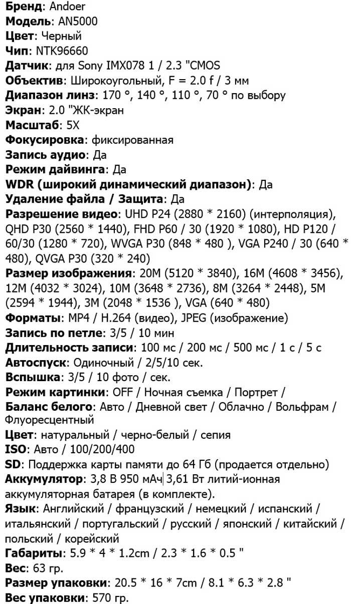 Характеристики AN5000