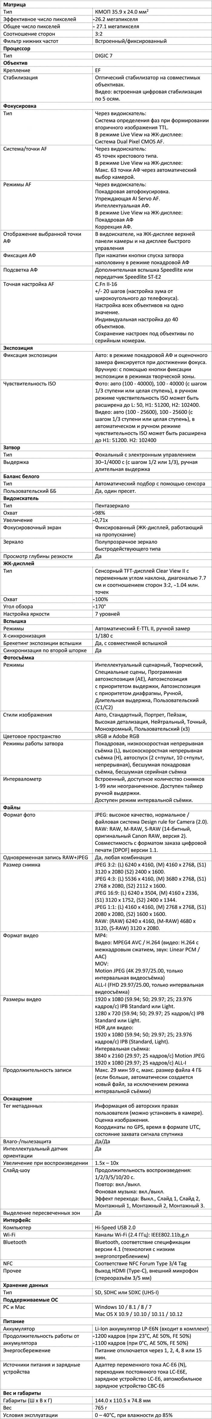 Характеристики EOS 6D Mark II