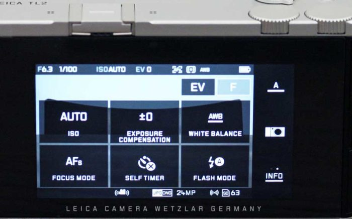 Leica TL2 управление и экран