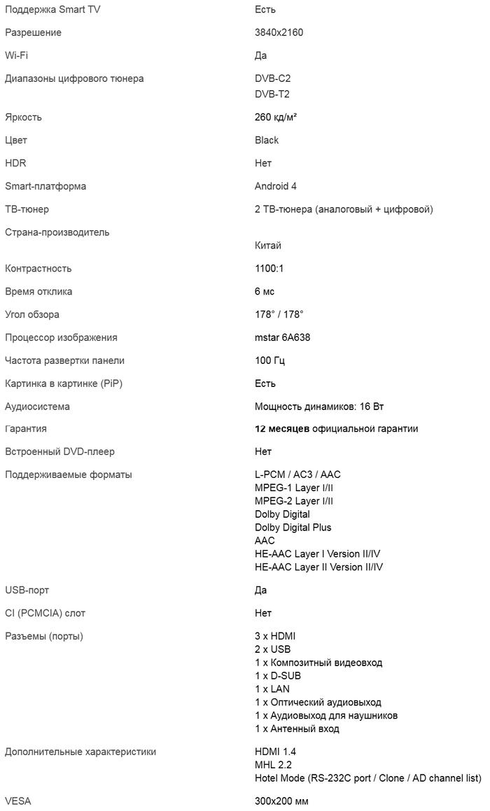 Характеристики U7750EV
