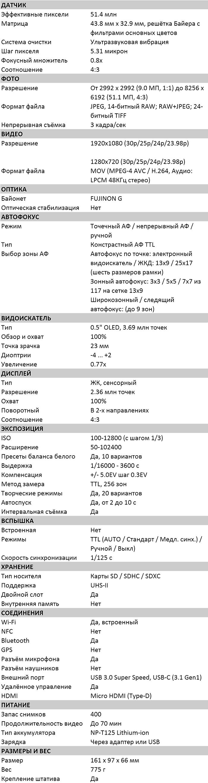 Характеристики GFX 50R