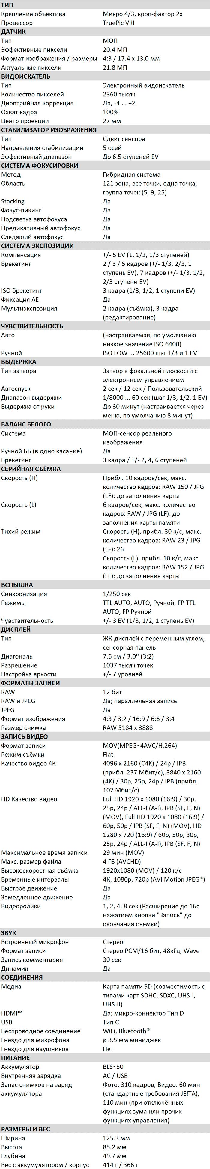Характеристики OM-D E-M5 III