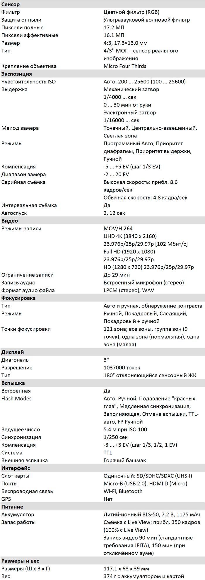 Характеристики E-PL10