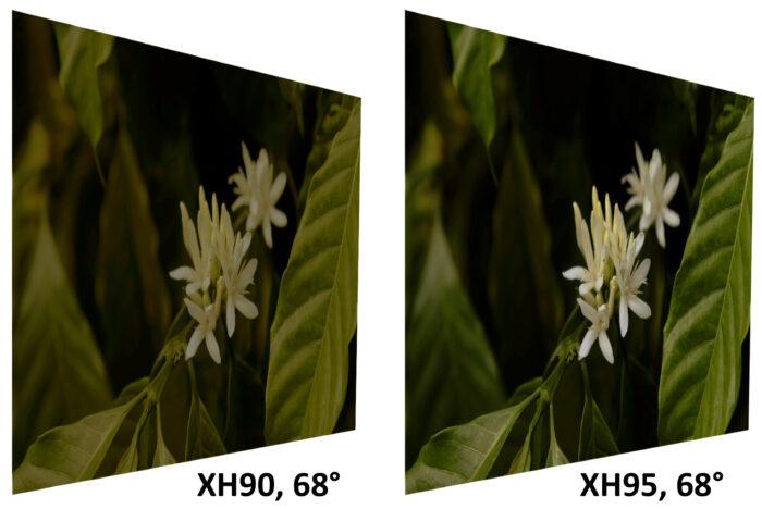 Sony XH90 vs XH95 - угол обзора