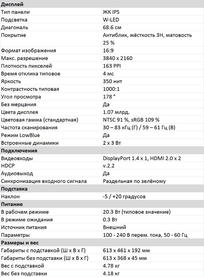 Характеристики 278E1A